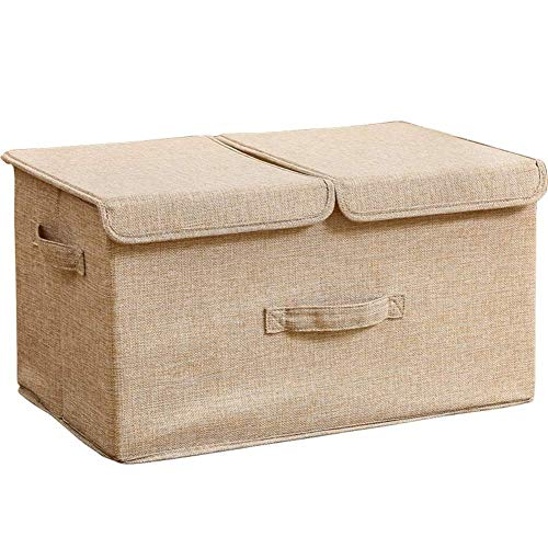 Caja de Almacenamiento con Tapa y manija, Plegable Rectangular Caja for Armarios,...