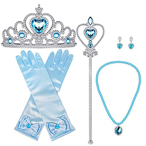 Orgrimmar Princess Dress Up Accessories Gloves Tiara Crown Wand Necklaces Presents for Girls Princess Cosplay Costume Accessories Blue