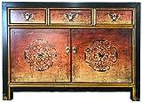 OPIUM OUTLET Asia - Cómoda de madera estilo Shabby Chic vintage, color negro y naranja