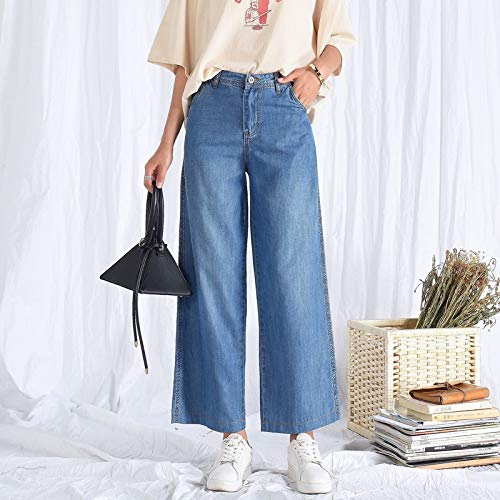 ZYDP Hoge taille Tiansi Jeans Women's wijde pijpen Blue Denim Leggings Straight Jeans
