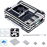Smraza Raspberry Pi 4 Case, Acrylic Case for Raspberry Pi 4B, with Fan 35mm, 4PCS Heatsinks for Pi 4 Model B RPI 8GB/4GB/2GB Black and Clear (Upgrade, Large Fan and Large Heat Sinks)