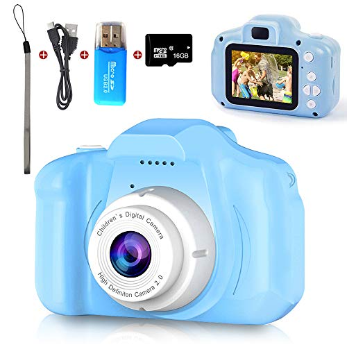 Digital Camera for Kids, Mini Blue Rechargeable Children Camera Shockproof 8.0MP HD Child Camcorder,Toddler Cameras with 16GB TF Card for Boys Age 3-8 Birthday Toy Gifts