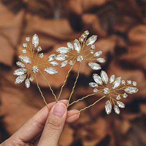 Mayelia - Horquillas para el pelo de novia con cristales (3 unidades),...