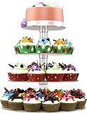 Queta Tortenständer Cupcake Ständer für Hochzeit, Party, Geburtstag, Baby Duschen & Kuchen Dessert, 4-stöckig Acryl, 15cm/ 18.7cm / 22.5cm/ 26.3cm Durchmesser - 8