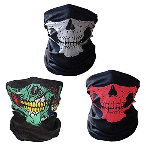 CBValleyol 3 Piezas Pasamontañas Bufanda Multiuso Máscara Facial de Tubo de Motocicleta