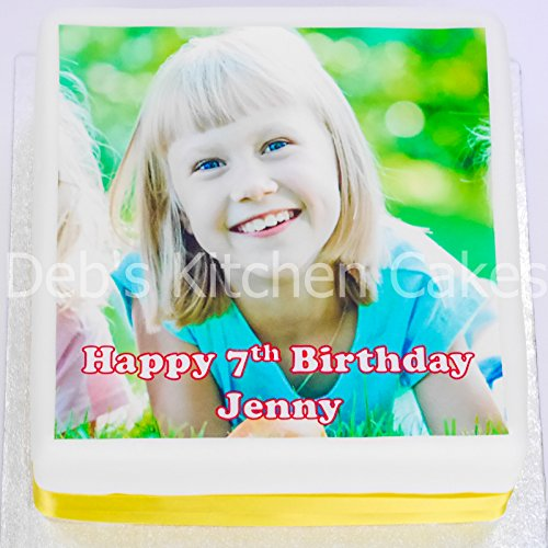 Your Own Photo + Message Personalised Cake Topper by Deb's Kitchen Cakes - Edible Wafer 7.5' / 19cm Square Pre-Cut