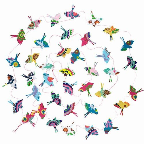 World Buyers Paper Bird Garland with Pink String-Blue,White,Pink,Orange,Yellow,Green,Silver, and Pink 2' x 10' L (Summer)