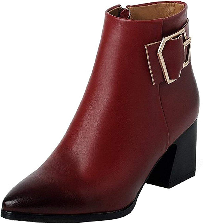 Gedigits Women's Fashion Buckle Strap Block Medium Heel Ankle Booties Pointed Toe Side Zipper Short Boots Black 5.5 M US