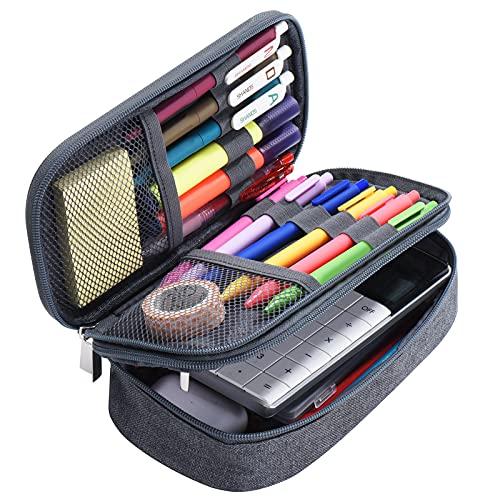 Yerdol Estuche de lápices de gran capacidad, bolso de lona de 3 rejillas, estuche de lápices multifuncional, bolso de oficina portátil, adecuado para estudiantes de secundaria y universitarios