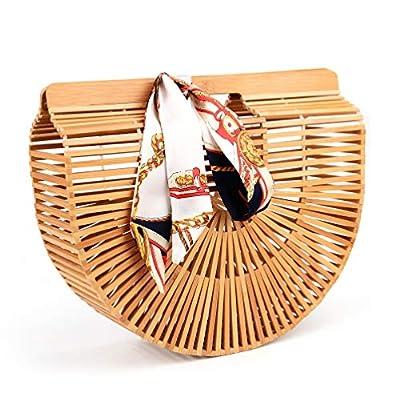 Bamboo Handbag Handmade Tote Bag Handle Straw Beach Bag for Women By Samuel
