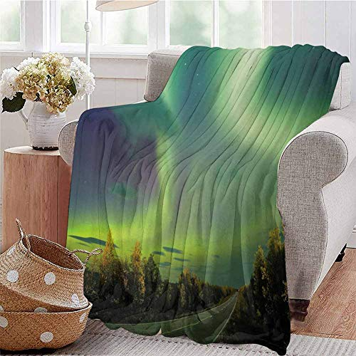 Northern Lights Commercial Grade Printed Blanket Highway Road Nordic Rays of Sky Surreal Sun Atmosphere Image Queen King W54 x L72 Inch Blue Lime and Fern Green