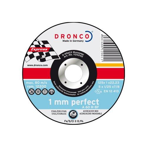 DRONCO Metall-Trennscheibe für Edelstahl, Stahl Ø125 x 1,0 x 22,23