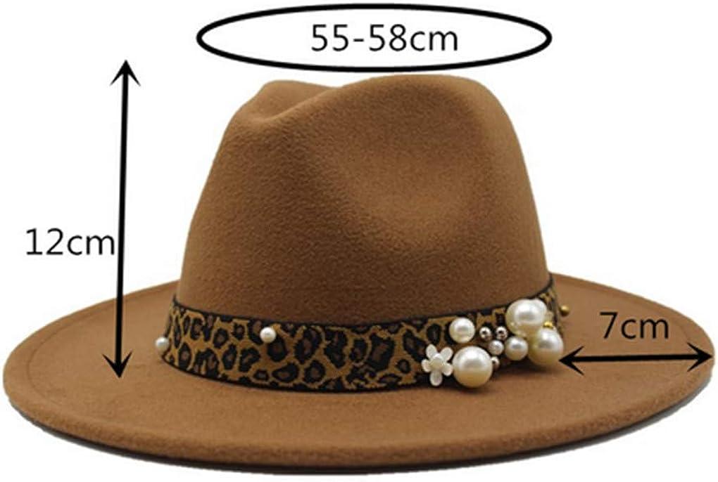 N /D Men Lady Fashion Girl Women Leopard Retro Hat Wide Belt Buckle Wool Fedora Hat Cap (Green, OneSize)
