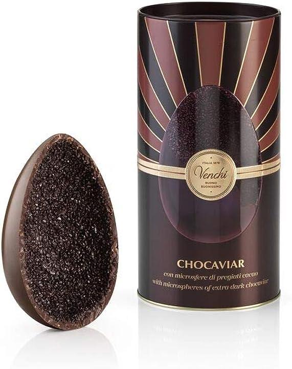 Uovo di cioccolato fondente venchi chocaviar 75% in cilindro di metallo 350g B085RYRQWQ