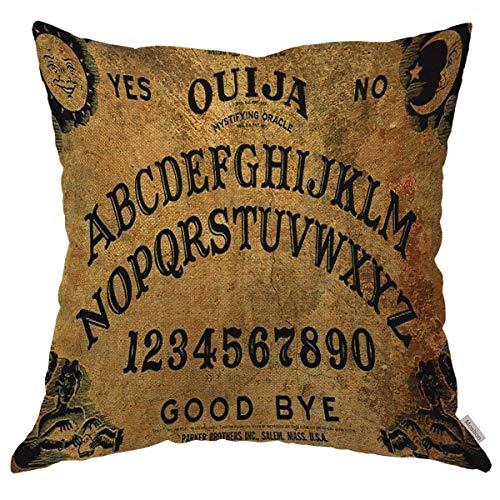 Yuanmeiju Throw Pillow Cover Case Vintage Retro Ouija Boards Design Fundas de cojín de Lino de algodón para sofá/sofá/Cocina/Coche/Boy Gilrs Dormitorio Sala de Estar Funda de Almohada de 18 x 18