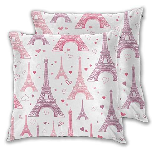 QYUESHANG 3D Print Throw Pillow Cover Case,Pastel Pink Eifel Tower Paris St Valentines D,Modern Pillowcase for Sofa Couch Bed Car Set Home Decor 18'x 18' Zipper 2pcs