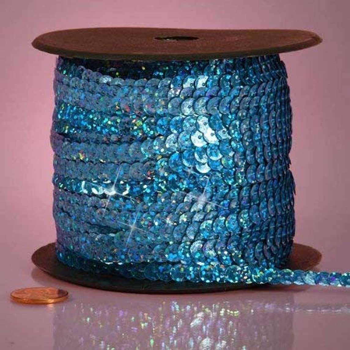 Sapphire Blue Holographic Faceted Sequins, 6mm X 80Yd