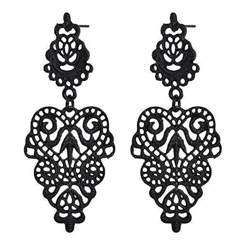 ZhenS Moda Nuovo Stile in Metallo Nero a Forma di Foglia Cava orecchino Boemia Donna Ragazza Partito Gioielli orecchino retrò-Default