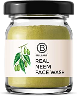 BRILLARE 100% Natural Real Neem & Bergamot Face Wash for Acne Prone Skin, Clears Pimple, Breakouts & Blemishes, No Chemica...