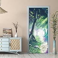 ZCLCHQ ドアステッカー 大きな緑の木 ドア改修デカール自己接着防水3Dウォールステッカー家の装飾壁画 95 x 215cm