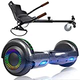 SISIGAD Hoverboard with Seat Attachment Combo, 6.5' Two-Wheel Hoverboards with Bluetooth Speaker and Colorful Lights, Self Balancing Scooter for Kids Gift (Include Go-Kart )