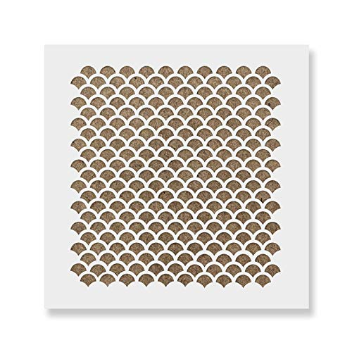 Fish Scale Cookie Stencil Template - Reusable & Durable Food Safe Stencils for Cookies and Baking