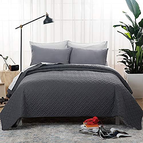 Bedsure Tagesdecke 200x220 dunkelgrau Schlafzimmer- Bettüberwurf 200 x 220 cm für Bett, Wohndecke aus Mikrofaser mit Ultraschall genäht, als Steppdecke Sommer Komfort und Weich
