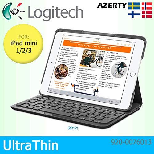 Logitech Schutzhülle für Apple iPad Air 1, 2017 & 2018, Leinen, mit integrierter Bluetooth-Tastatur, Schwarz