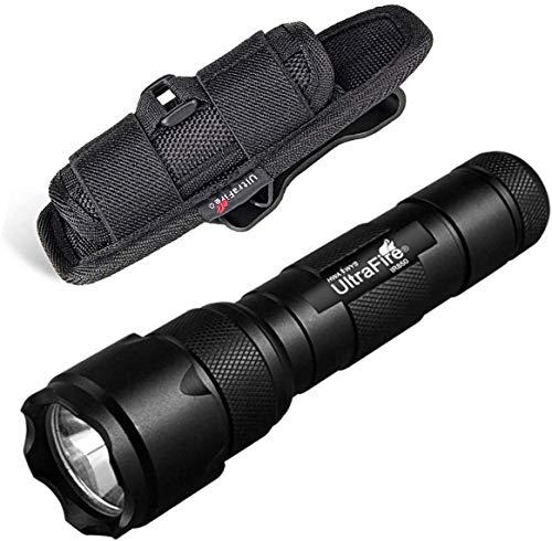 ULTRAFIRE 502B Linterna IR 850 nm Enfoque Ajustable Iluminador Táctico Infrarrojo con Funda de Linterna, Modo Singular, Mini Linterna Caza Luz Infrarroja Visión Nocturna