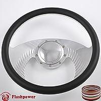 Flashpower 14インチ ビレットホークウィングハーフラップステアリングホイール 9ボルト2インチディッシュとホーンボタン付き ブラック 121008-CH0