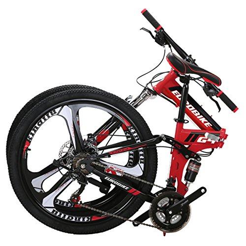 EUROBIKE EURG4 Mountain Bike 26 Inches 3 Spoke Wheels Dual Suspension Folding Bike 21 Speed MTB Red