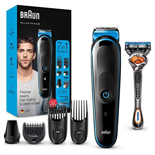Braun 7-in-1 Beard Trimmer, With Hair & Nose Trimmer & Gillette Razor, For Beard, Face & Hair Lifetime Sharp Blades, 5 Attachments, Men's Gift Set, 2 Pin Bathroom Plug, MGK3245, Black/Blue