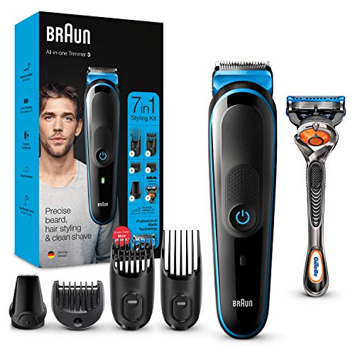 Braun 7-in-1 Beard Trimmer, With Hair & Nose Trimmer & Gillette Razor, For...