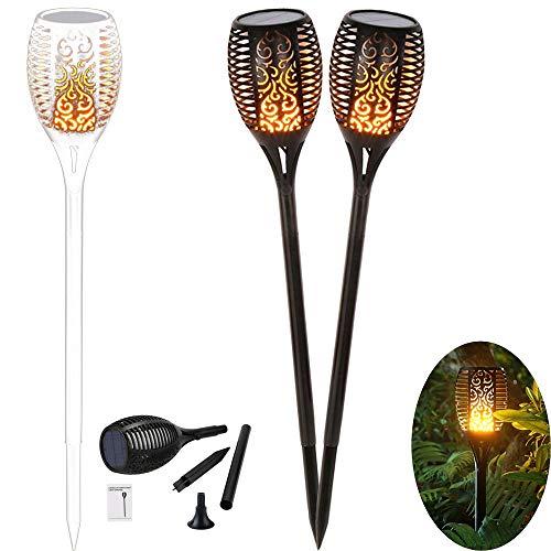 96 LED Solar Gartenleuchte Solar Garten Beleuchtung Garten Licht, Solarlampe mit IP65 wasserdicht und realistischen Flammen (2 Stücke)