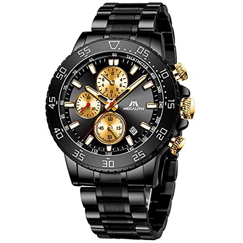 MEGALITH Reloj Hombre Militar Cronografo Acero Inoxidable Negro Reloj de Pulsera Esfera Grande Analógico Relojes Impermeable Luminoso Fecha