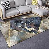 Alfombra Antideslizante ba?era Alfombra Azul, patrón de Ciervos Cojín de Arrastre de cojín Calma Anti-Bacterial Ventilation Carpet alfombras baños -Azul_200x300cm