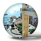 Hqiyaols Souvenir Brasil Salvador Bahía Imán de Nevera 3D Colección de Recuerdos Viaje Regalo Círculo Cristal Imanes de Nevera