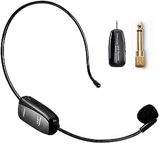 XIAOKOA UHF ワイヤレス マイク ヘッドセット マイク 高音質 軽量 iphone/android/pc/windows/拡声器に対応 (日本語説明書付き)