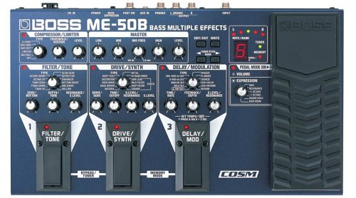 BOSS mE-50B Bass Multiple Effects Pedal, Independent Co Sm Compressor/Limiter and EQ & Cool Filter/TOne Effects