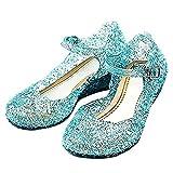 KIRALOVE Zapatos Elsa congelados - Anna - Cenicienta - Princesa - niña - Suela 20 cm - Color Azul con Brillo - Carnaval - Halloween - Cosplay - Talla 34 Glitter Cosplay
