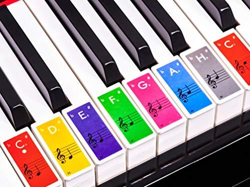 Premium Aufkleber für Klaviertasten | Klavier Aufkleber/Keyboard Aufkleber auf deutsch inkl. Anleitung + E-Book | für 49/61 / 76/88 Tasten | für weiße Tasten | Bunt [JL-B52]