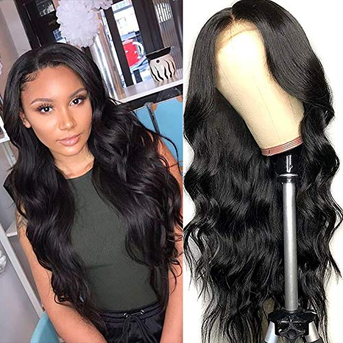 Lace Front Wigs Human Hair Body Wave Brazilian Virgin Human Hair Wigs,130% Density Body Wave Wigs for Black Women 4x4 Lace Closure Wigs Natural Color (24 inch)