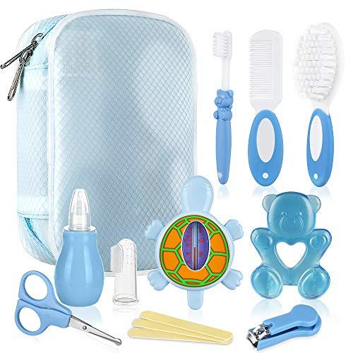 Lictin Set para Cuidado del Bebé-10 Piezas Kit de Aseo para Bebés conTermómetro,Peine, Cepillo de Dientes, Limpiador de Nariz, Adecuados para Viajar, Uso Diario