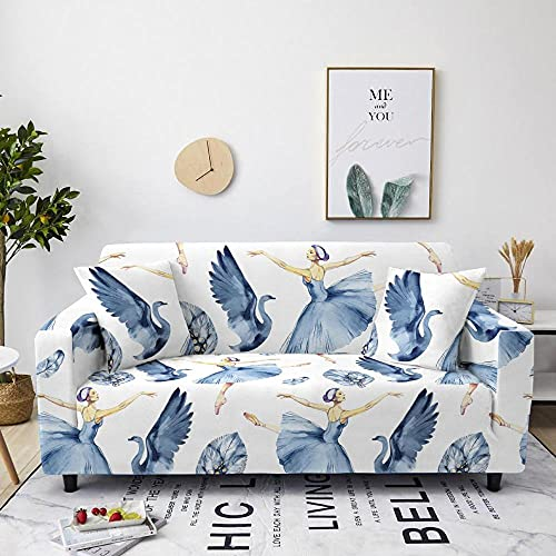 High Stretch Sofa Covers,Dancing Girl, White and Blue Non Slip Slipcover Furniture Protector 3 Seater:190-230 cm Comfortable Polyester Spandex Material Machine Washable