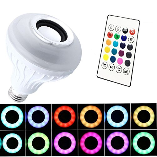 Lampada del Bluetooth, LightsGoal Lampadina Musicale, LED Lampada Intelligente E27 6W RGB, Lampadina Spreaker, Lampadina Bluetooth Altoparlante per iPhone IOS, Android, iPad, telecomando incluso