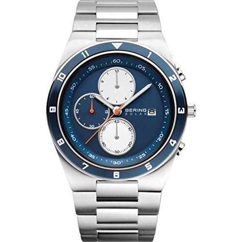 BERING Reloj Analógico para Hombre de Energía Solar con Correa en Acero Inoxidable 34440-708