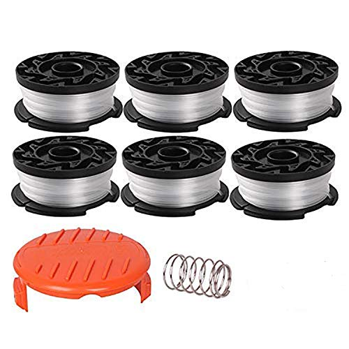 """Eyolotyi AF-100 Replacement Spools for Black Decker GH900 GH600 LST522 LCC140 String Trimmer Weed Eater Refills 30ft 0.065"""" Auto-Feed Spool,8 Pack (6 Replacement Spool, 2 Trimmer Cap)"""