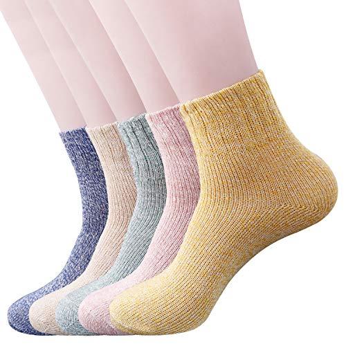 5 Pack Womens Thick Socks Warm Winter Knit Wool Soft Vintage Soft Hiking Crew Socks LM