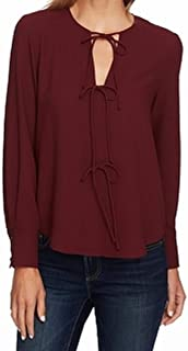 1.State Long Sleeve Blouse with Ties Rich Chianti