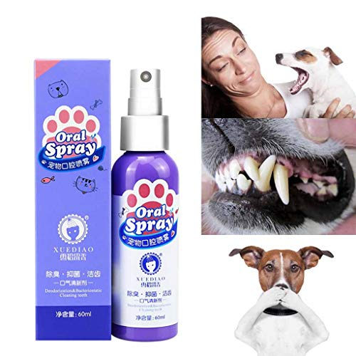 Juesi Pet Breath Freshener Oral Spray - Dental Care Bad Breath Treatment for Dogs & Cats Mouthwash Best for Pet Teeth Cleaner Cleaning Plaque Tartar Mouth Wash Liquid Remover (1Pcs)